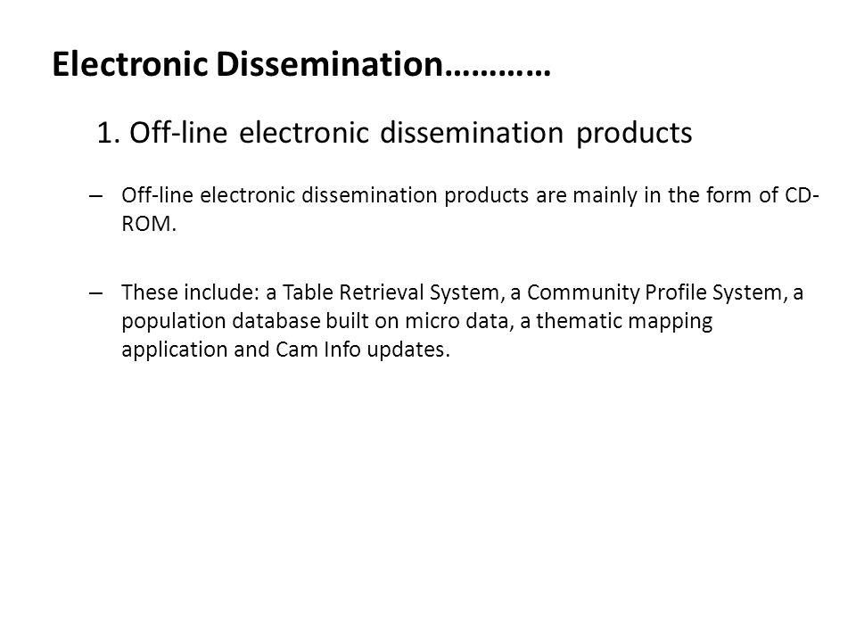 Electronic Dissemination………… 1.