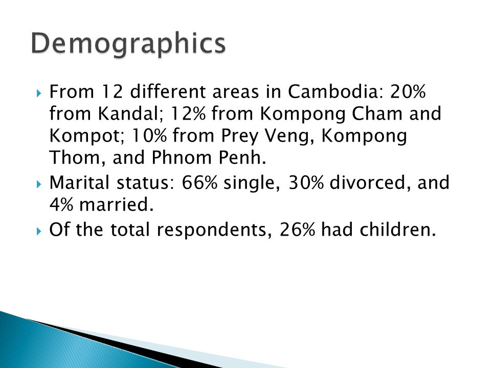  From 12 different areas in Cambodia: 20% from Kandal; 12% from Kompong Cham and Kompot; 10% from Prey Veng, Kompong Thom, and Phnom Penh.  Marital