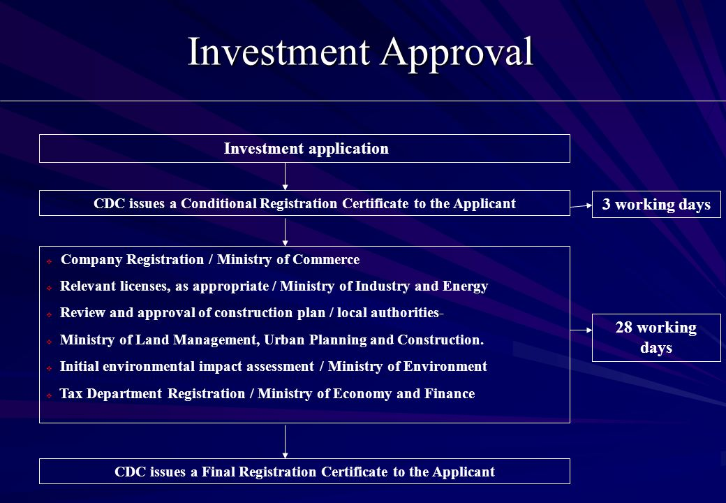 Investment Approval Investment application CDC issues a Conditional Registration Certificate to the Applicant  Company Registration / Ministry of Commerce  Relevant licenses, as appropriate / Ministry of Industry and Energy  Review and approval of construction plan / local authorities-  Ministry of Land Management, Urban Planning and Construction.