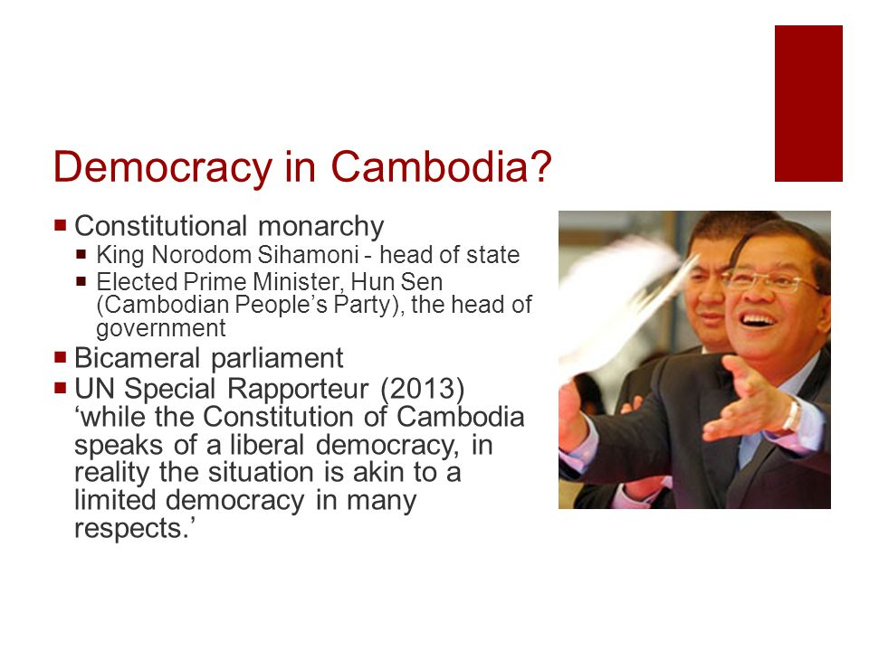 2013 Elections  2013 election CNRP opposition 55 seats, CPP 68 seats  But allegations of vote rigging etc led to  Mass demonstrations  Opposition refusing to take seats in the assembly  State responded violently  Still no political agreement  Opposition filed complaints against a govt official for ordering violence  Working on ICC complaint