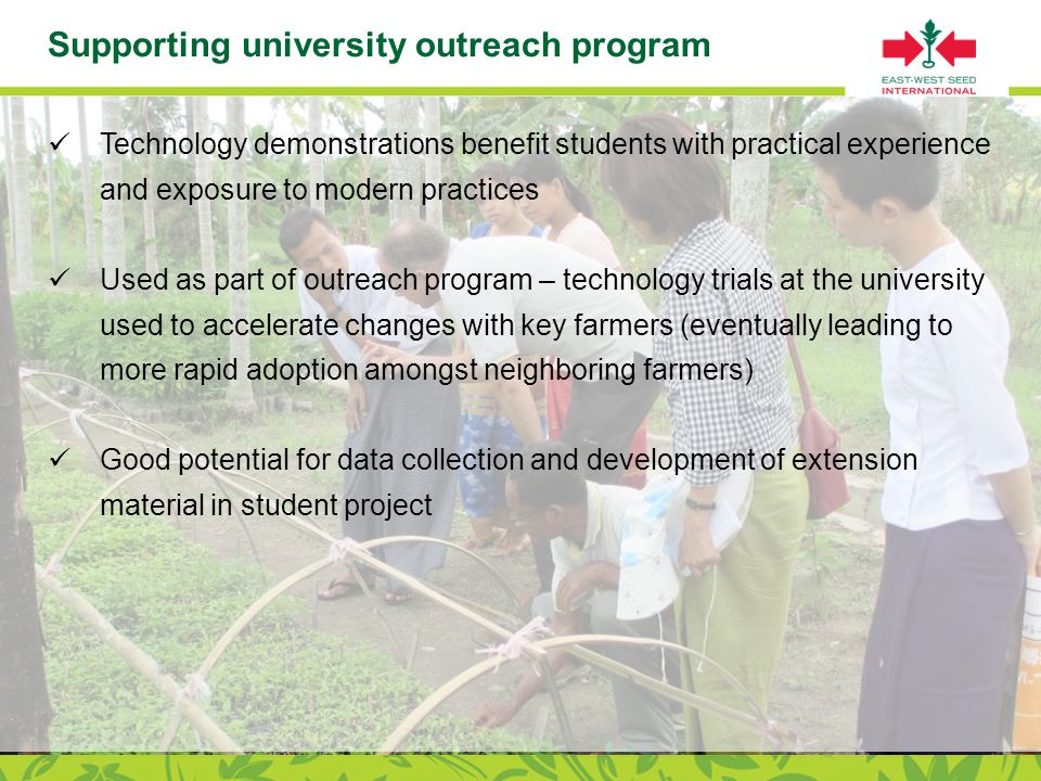 Page 19 Supporting university outreach program Technology demonstrations benefit students with practical experience and exposure to modern practices Used as part of outreach program – technology trials at the university used to accelerate changes with key farmers (eventually leading to more rapid adoption amongst neighboring farmers) Good potential for data collection and development of extension material in student project