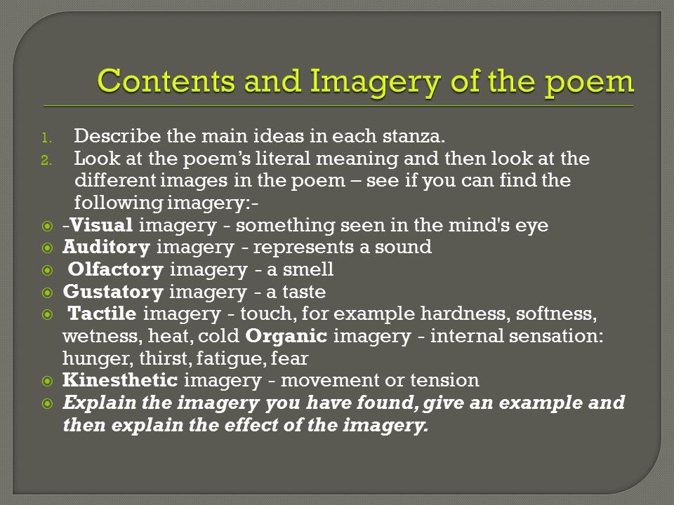 1. Describe the main ideas in each stanza. 2.