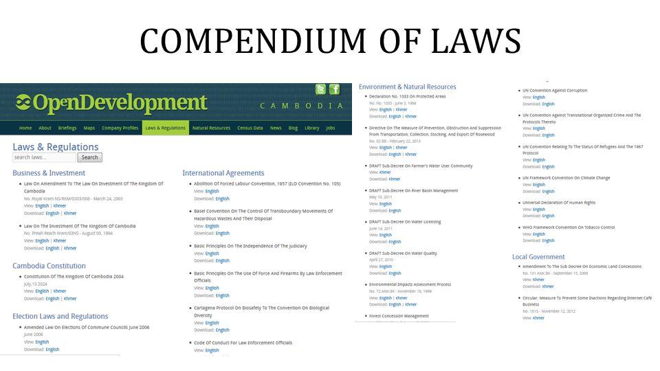 COMPENDIUM OF LAWS