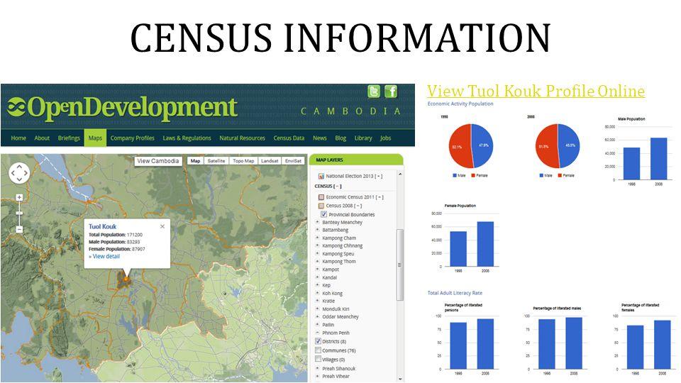 CENSUS INFORMATION View Tuol Kouk Profile Online