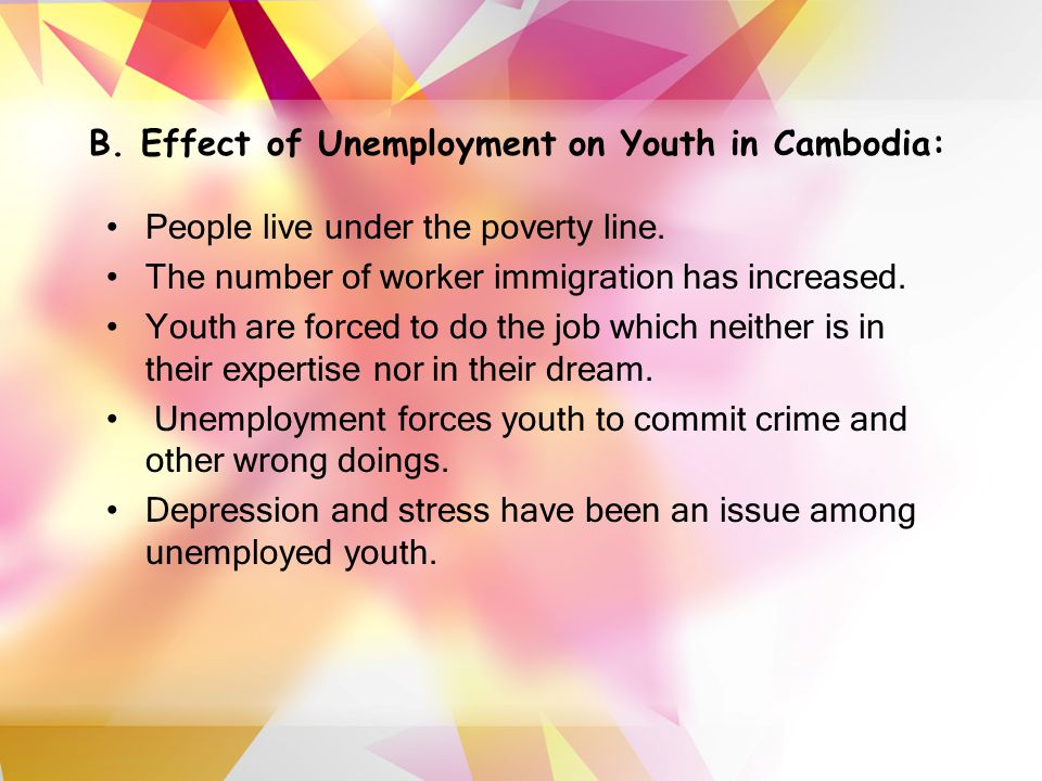 B. Effect of Unemployment on Youth in Cambodia: People live under the poverty line.