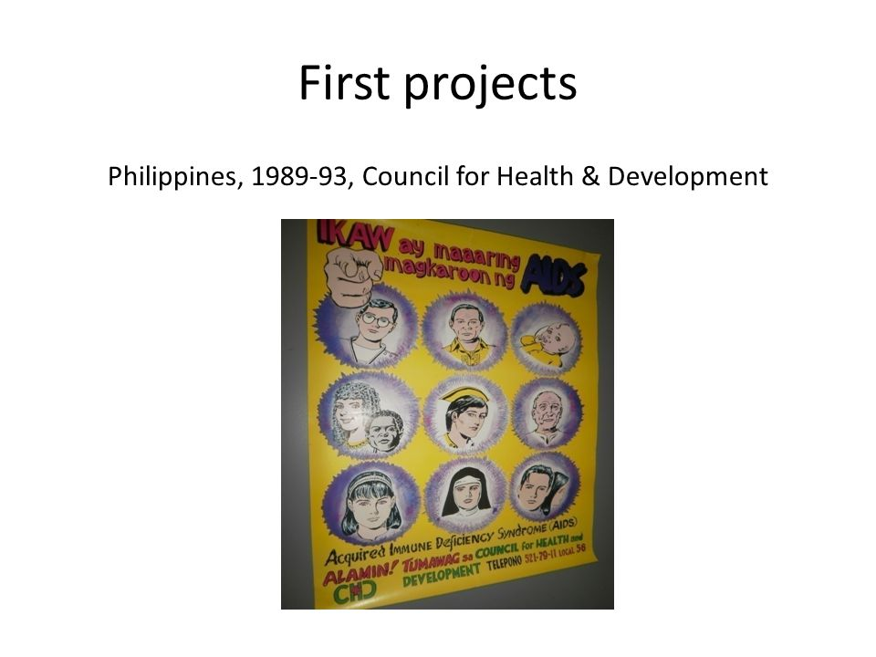 First projects Philippines, 1989-93, Council for Health & Development