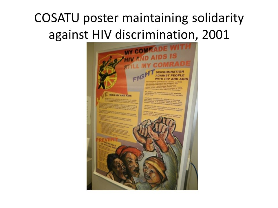 COSATU poster maintaining solidarity against HIV discrimination, 2001