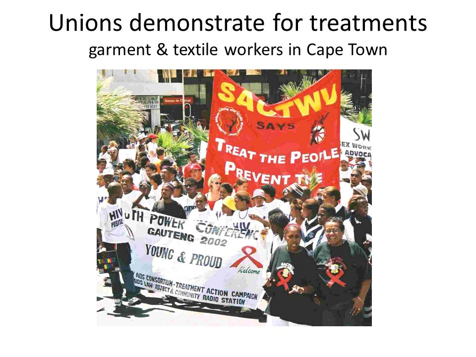 Unions demonstrate for treatments garment & textile workers in Cape Town