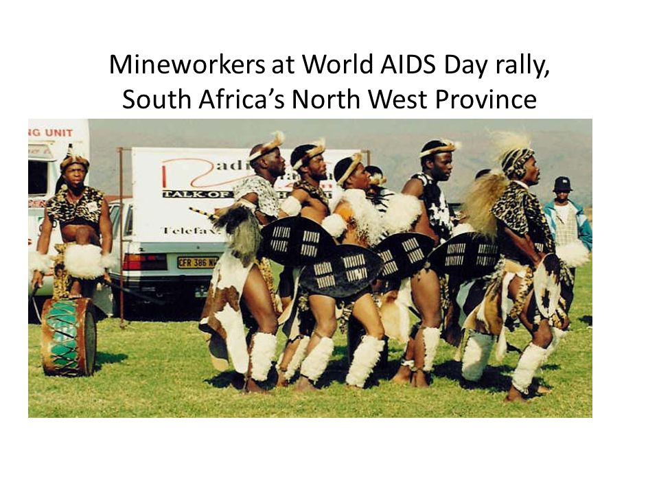 Mineworkers at World AIDS Day rally, South Africa's North West Province