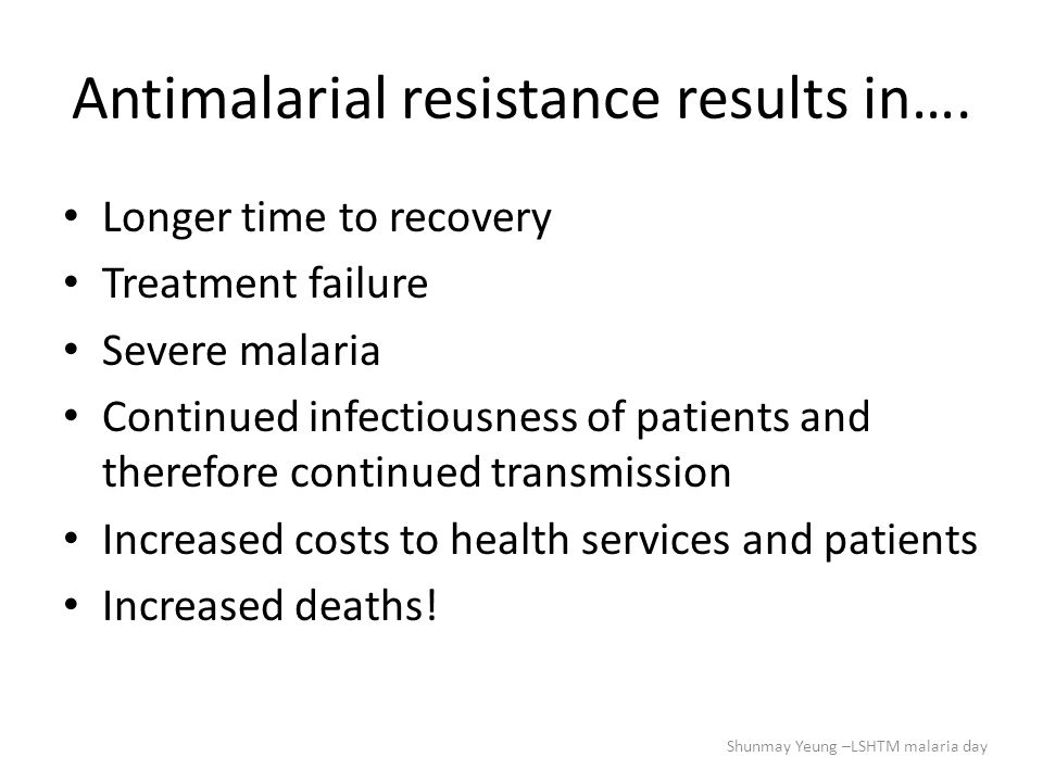 Increased mortality …the proportion of deaths attributable to chloroquine treatment was 69%…..These 4 years of data provide strong evidence that continued use of chloroquine in areas with resistance is contributing to excess Plasmodium falciparum- related deaths (The mortality consequences of the continued use of chloroquine in Africa: experience in Siaya, western Kenya.