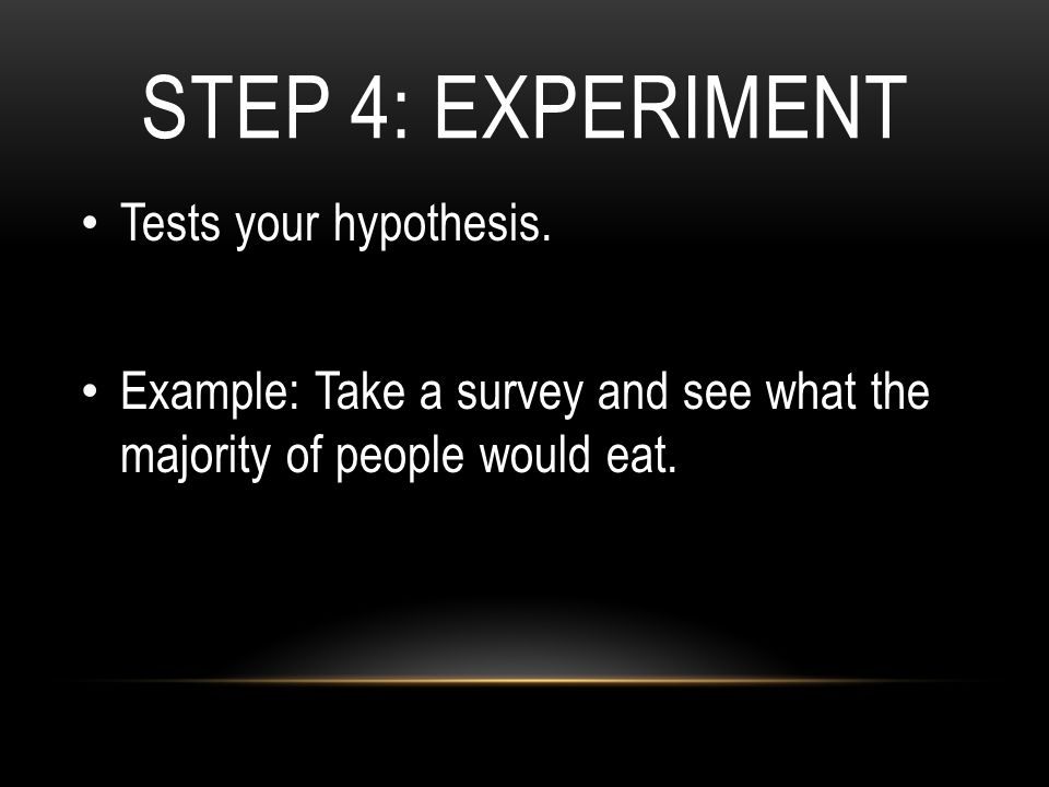 STEP 4: EXPERIMENT Tests your hypothesis.