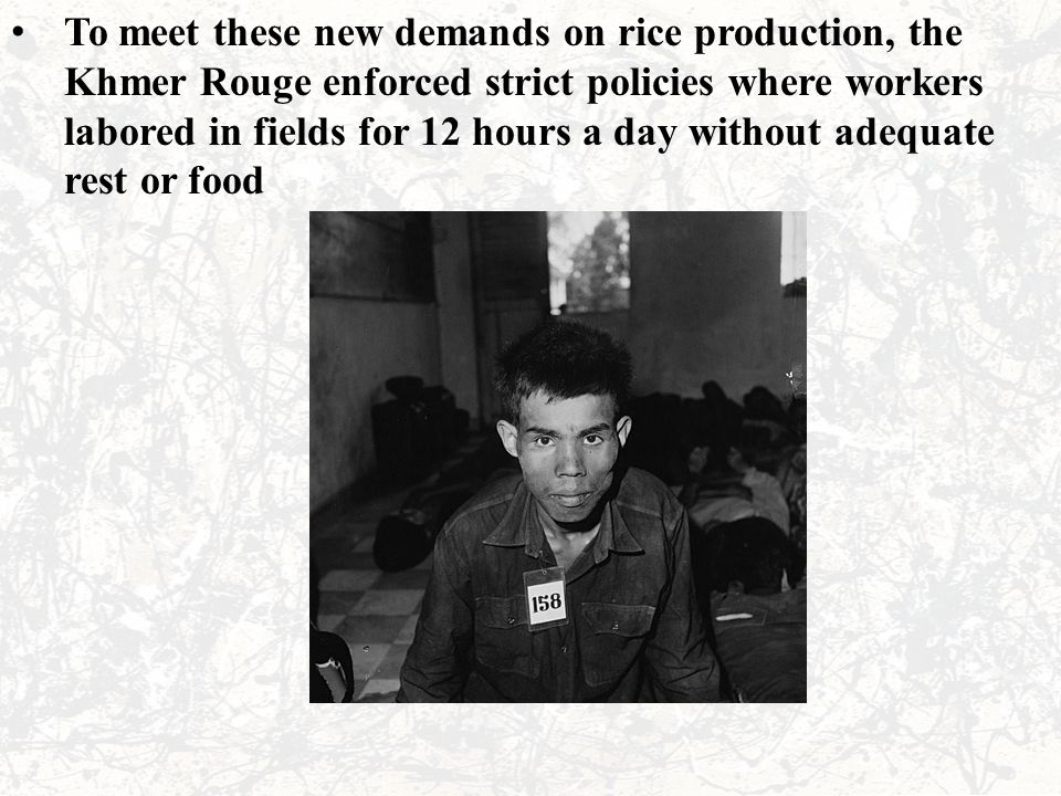 To meet these new demands on rice production, the Khmer Rouge enforced strict policies where workers labored in fields for 12 hours a day without adeq