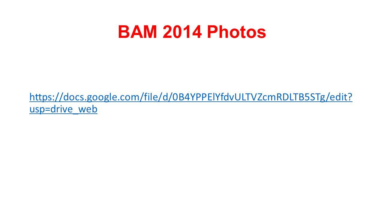 BAM 2014 Photos https://docs.google.com/file/d/0B4YPPElYfdvULTVZcmRDLTB5STg/edit? usp=drive_web