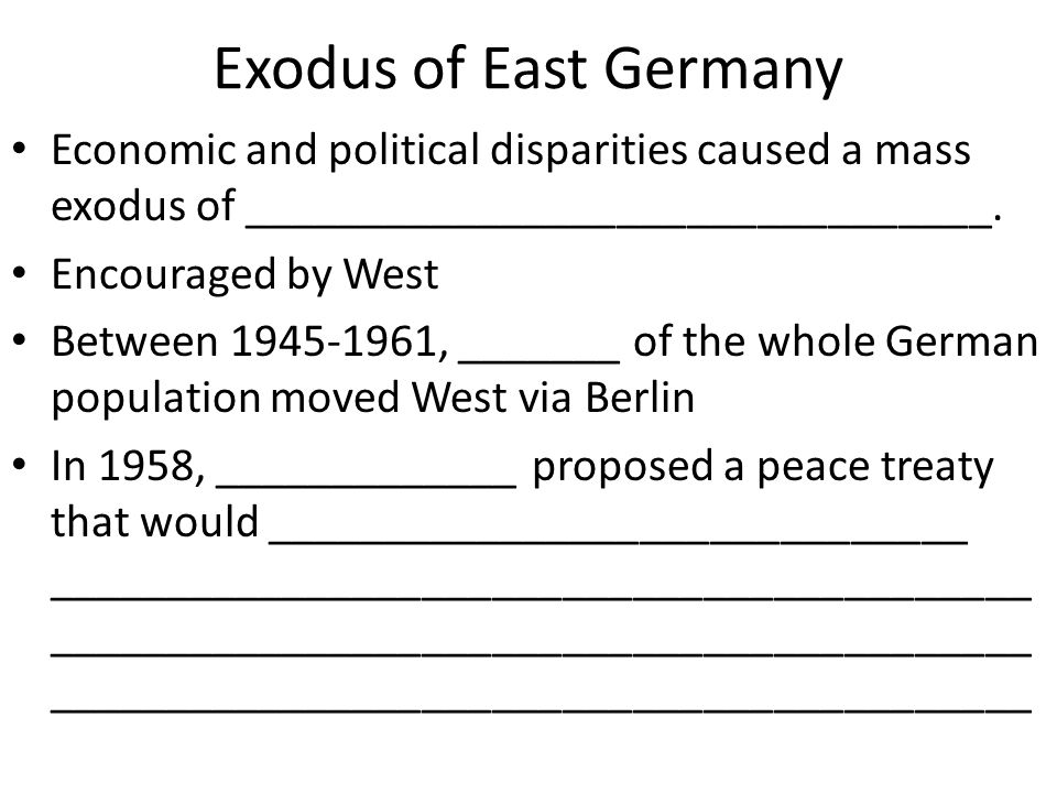 Exodus of East Germany Economic and political disparities caused a mass exodus of ________________________________. Encouraged by West Between 1945-19