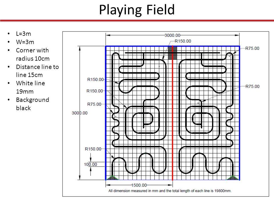Playing Field L=3m W=3m Corner with radius 10cm Distance line to line 15cm White line 19mm Background black