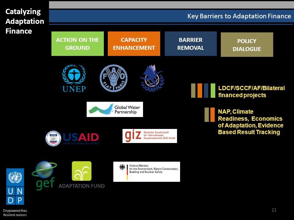 21 Key Barriers to Adaptation Finance Catalyzing Adaptation Finance ACTION ON THE GROUND CAPACITY ENHANCEMENT BARRIER REMOVAL POLICY DIALOGUE LDCF/SCCF/AF/Bilateral financed projects NAP, Climate Readiness, Economics of Adaptation, Evidence Based Result Tracking