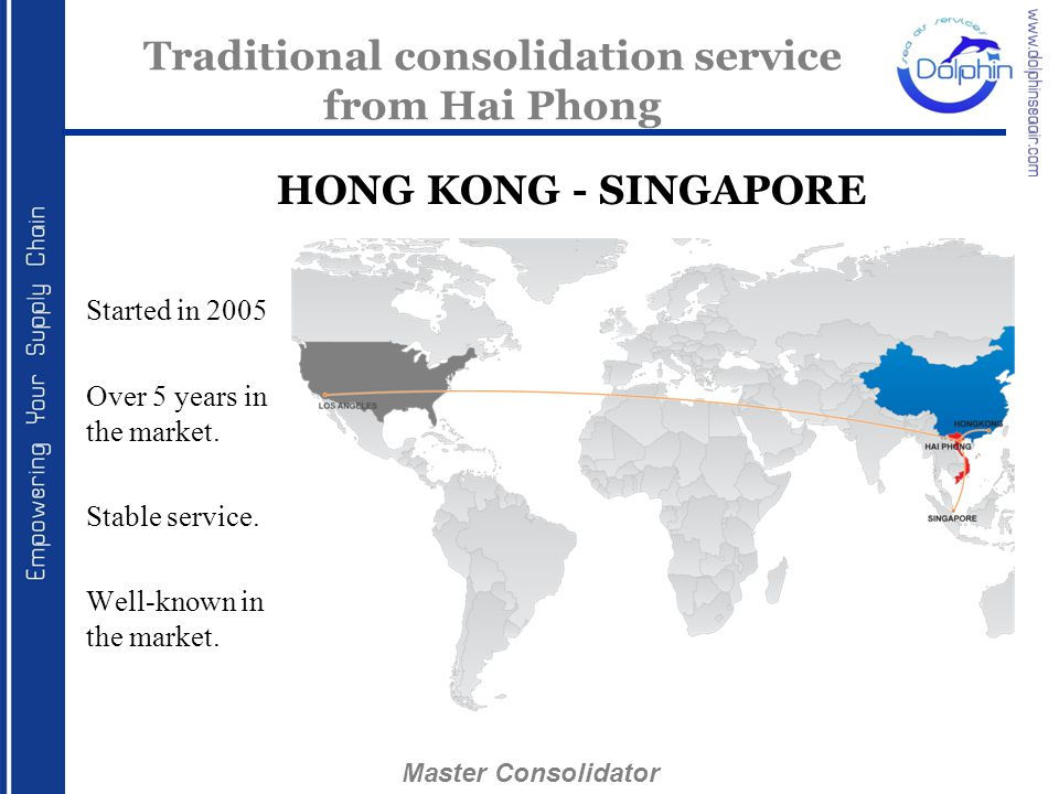 Started in 2005 Over 5 years in the market. Stable service. Well-known in the market. Traditional consolidation service from Hai Phong HONG KONG - SIN