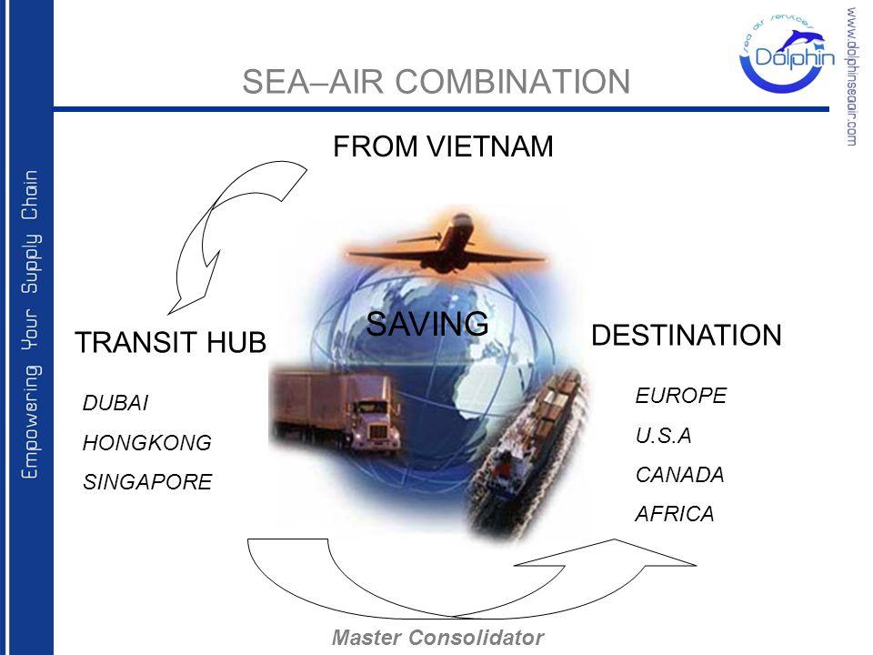 SEA–AIR COMBINATION TRANSIT HUB DUBAI HONGKONG SINGAPORE DESTINATION EUROPE U.S.A CANADA AFRICA SAVING Master Consolidator FROM VIETNAM