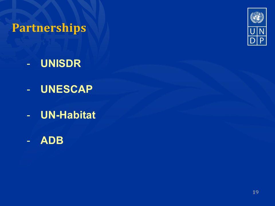 Partnerships 19 -UNISDR -UNESCAP -UN-Habitat -ADB