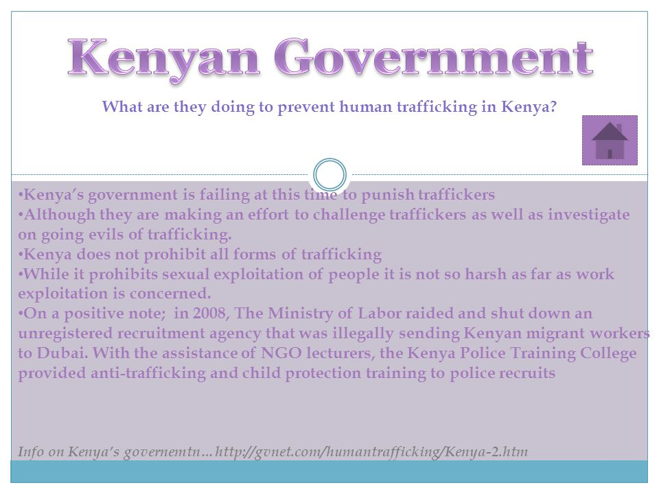 What are they doing to prevent human trafficking in Kenya.