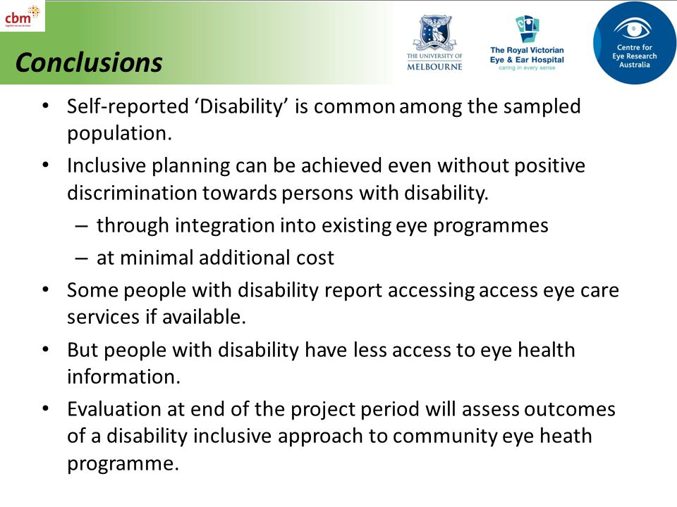Conclusions Self-reported 'Disability' is common among the sampled population.