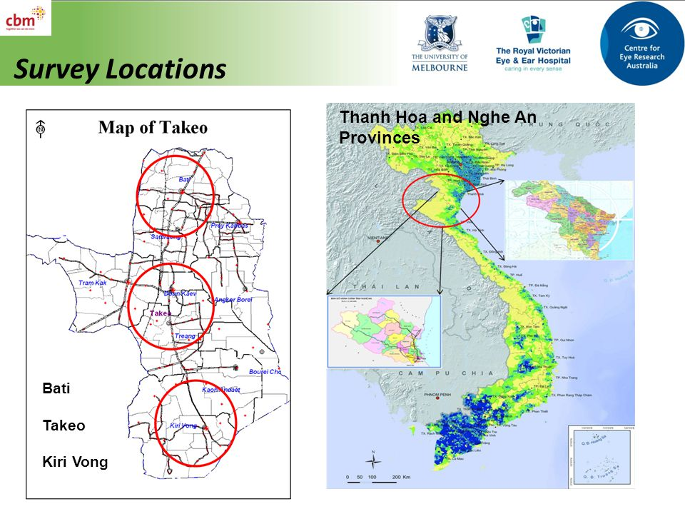Survey Locations Thanh Hoa and Nghe An Provinces Bati Takeo Kiri Vong