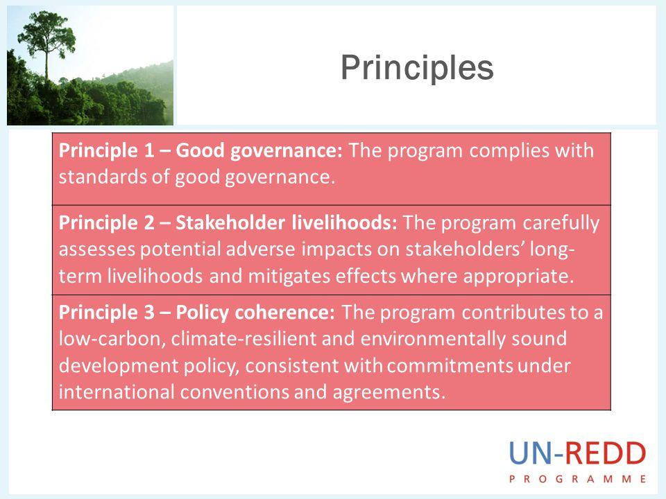 Principles Principle 1 – Good governance: The program complies with standards of good governance.