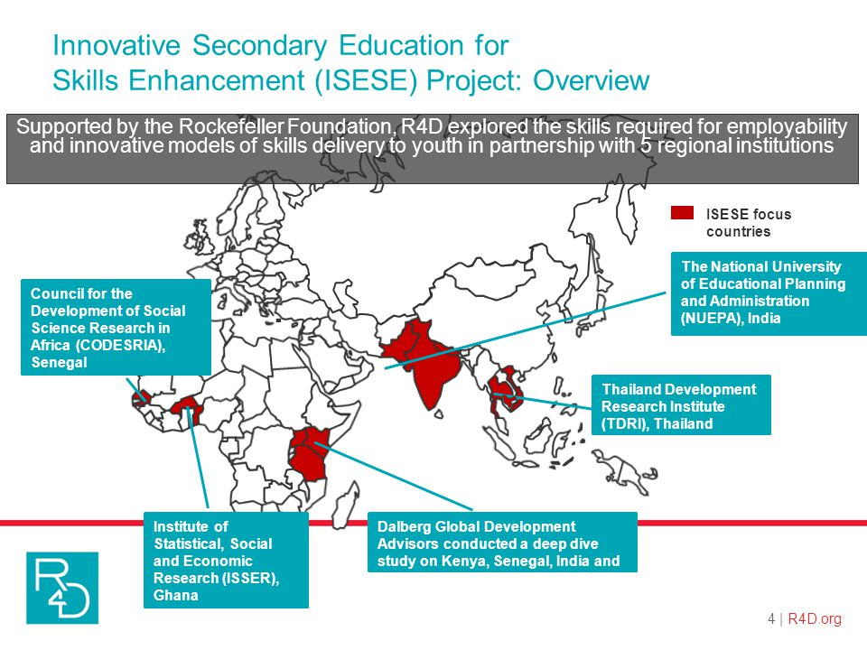 The National University of Educational Planning and Administration (NUEPA), India Institute of Statistical, Social and Economic Research (ISSER), Ghana Council for the Development of Social Science Research in Africa (CODESRIA), Senegal Thailand Development Research Institute (TDRI), Thailand Dalberg Global Development Advisors conducted a deep dive study on Kenya, Senegal, India and Cambodia.