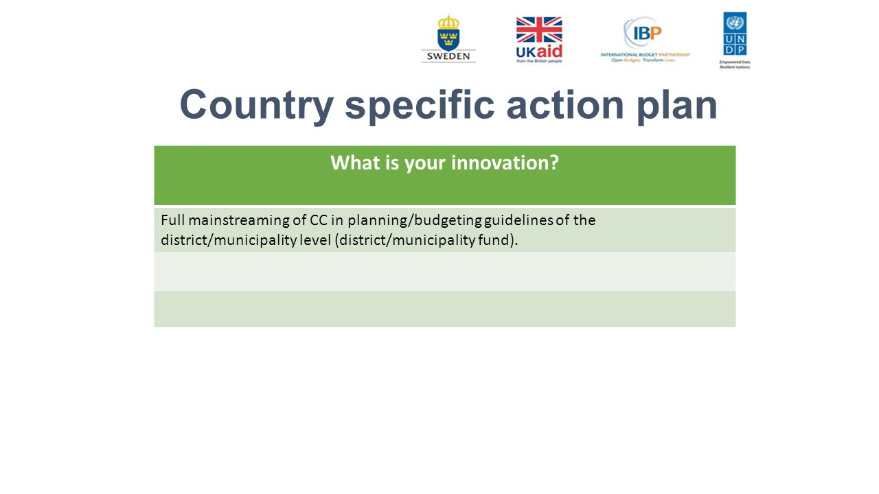 Country specific action plan What is your innovation.