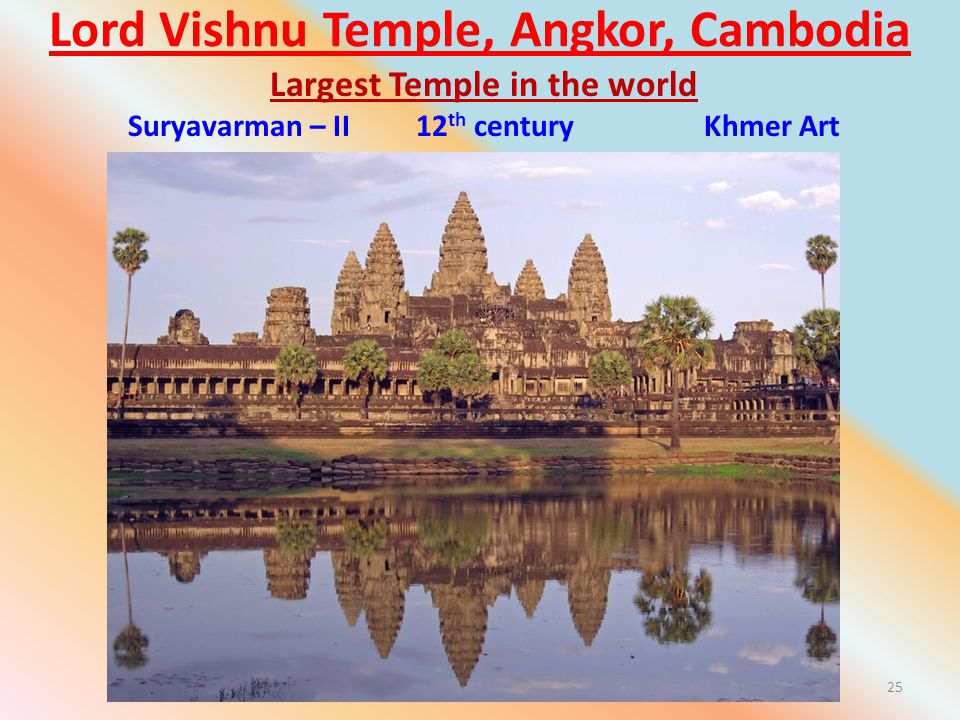 Lord Vishnu Temple, Angkor, Cambodia 25 Largest Temple in the world Suryavarman – II 12 th century Khmer Art