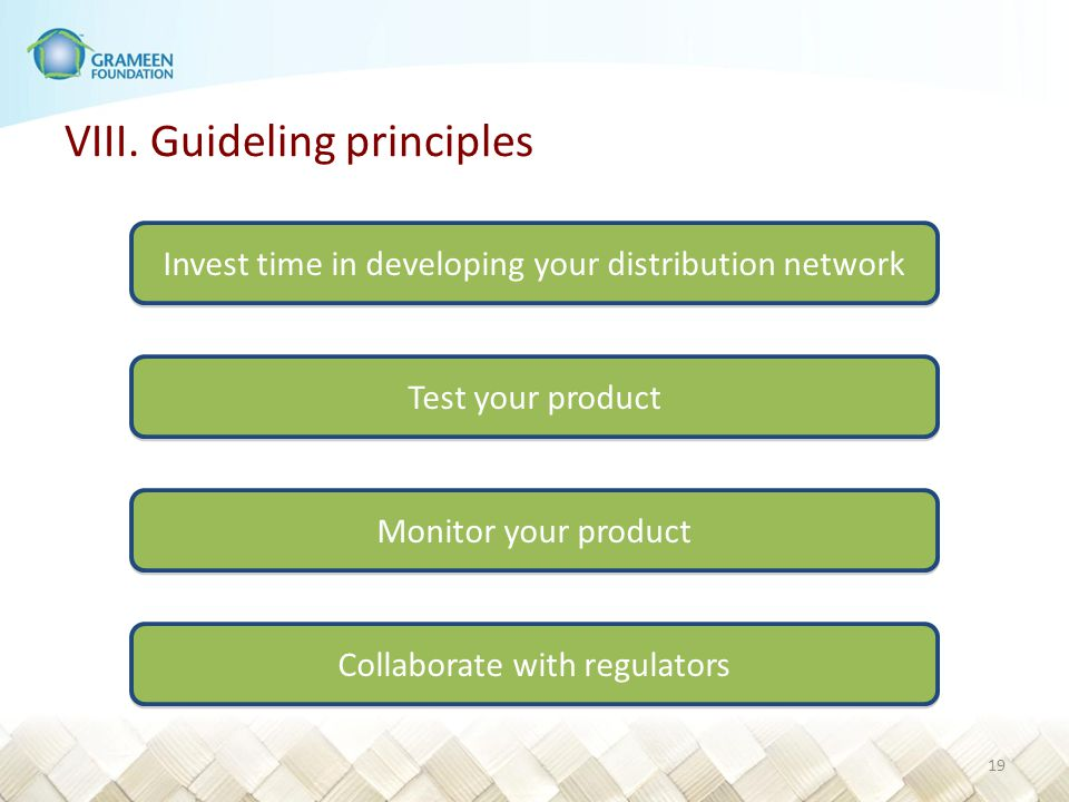 VIII. Guideling principles Have all 10 on the same screen and give talking points. No two market environments are exactly the same Business models are