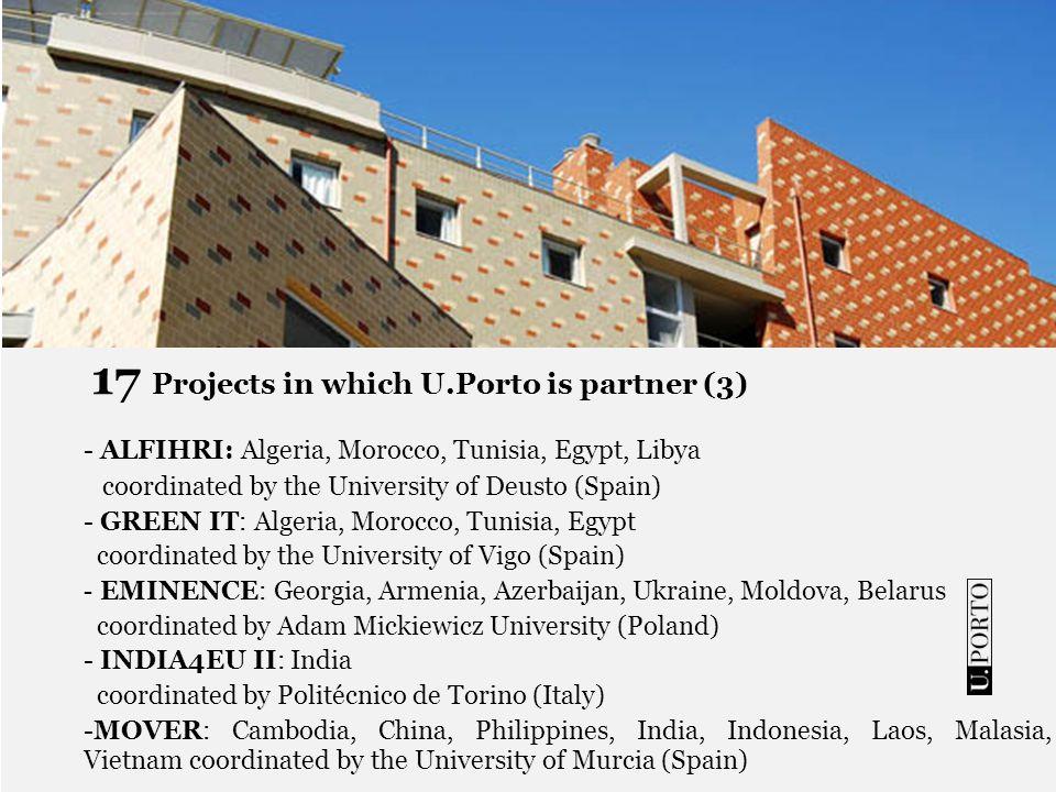 17 Projects in which U.Porto is partner (3) - ALFIHRI: Algeria, Morocco, Tunisia, Egypt, Libya coordinated by the University of Deusto (Spain) - GREEN