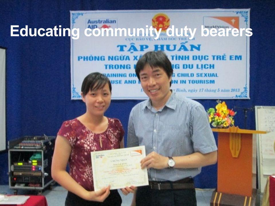 Educating community duty bearers