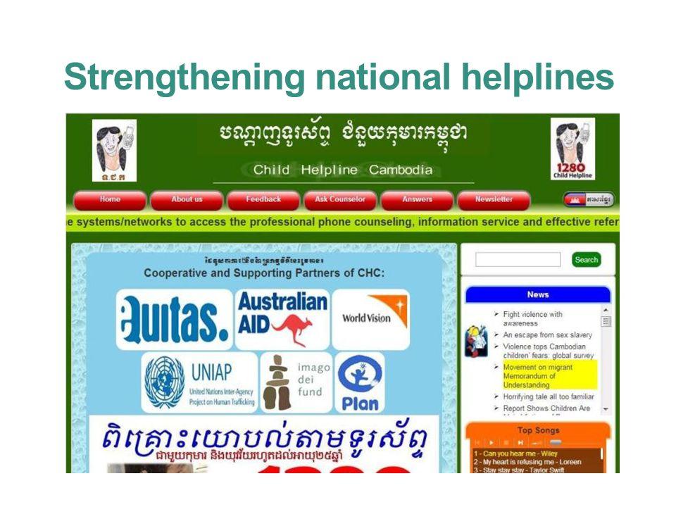 Strengthening national helplines