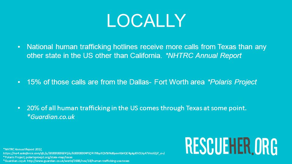 LOCALLY National human trafficking hotlines receive more calls from Texas than any other state in the US other than California. *NHTRC Annual Report 1