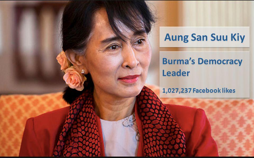 Burma's Democracy Leader 1,027,237 Facebook likes Burma's Democracy Leader 1,027,237 Facebook likes Aung San Suu Kiy