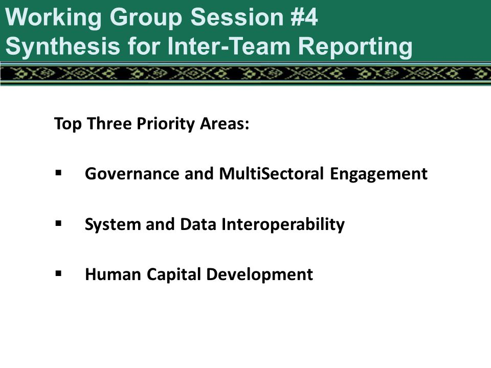 Top Three Priority Areas:  Governance and MultiSectoral Engagement  System and Data Interoperability  Human Capital Development Working Group Session #4 Synthesis for Inter-Team Reporting