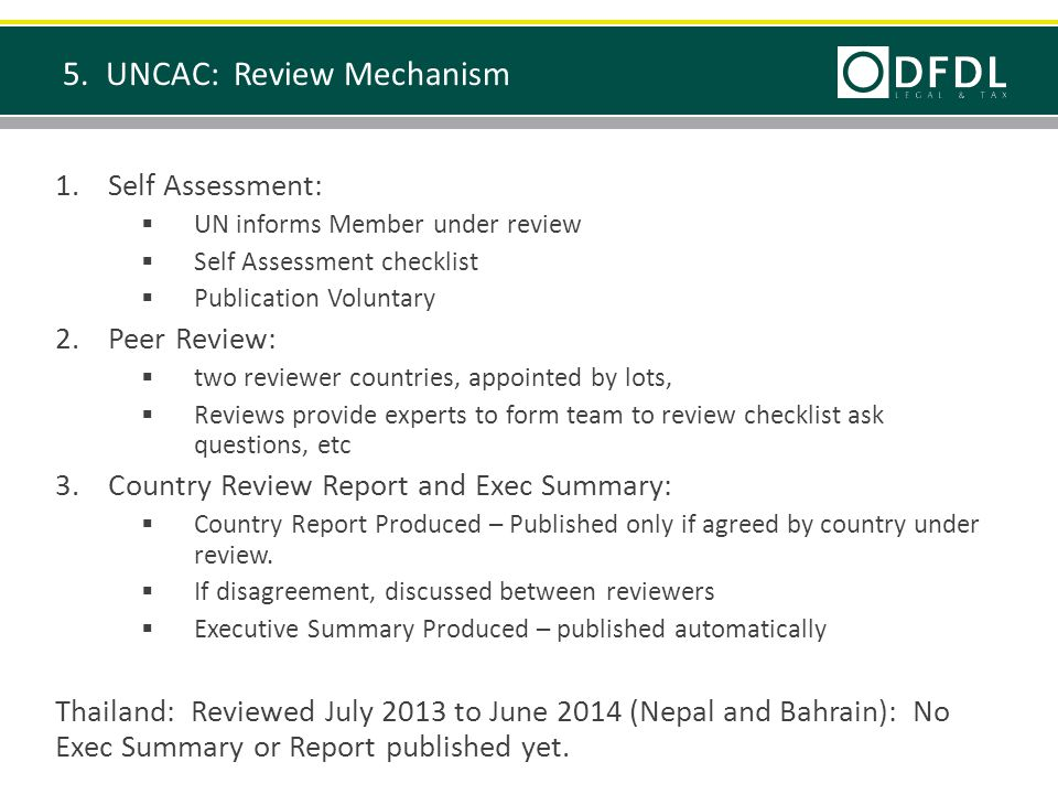 1.Self Assessment:  UN informs Member under review  Self Assessment checklist  Publication Voluntary 2.Peer Review:  two reviewer countries, appointed by lots,  Reviews provide experts to form team to review checklist ask questions, etc 3.Country Review Report and Exec Summary:  Country Report Produced – Published only if agreed by country under review.