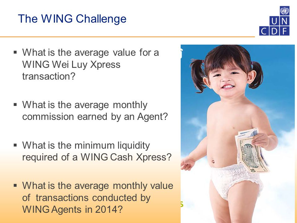 The WING Challenge  What is the average value for a WING Wei Luy Xpress transaction.