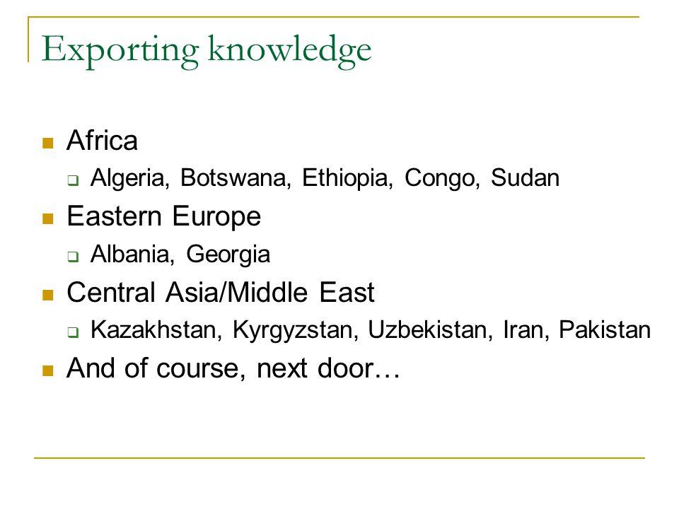 Exporting knowledge Africa  Algeria, Botswana, Ethiopia, Congo, Sudan Eastern Europe  Albania, Georgia Central Asia/Middle East  Kazakhstan, Kyrgyzstan, Uzbekistan, Iran, Pakistan And of course, next door…