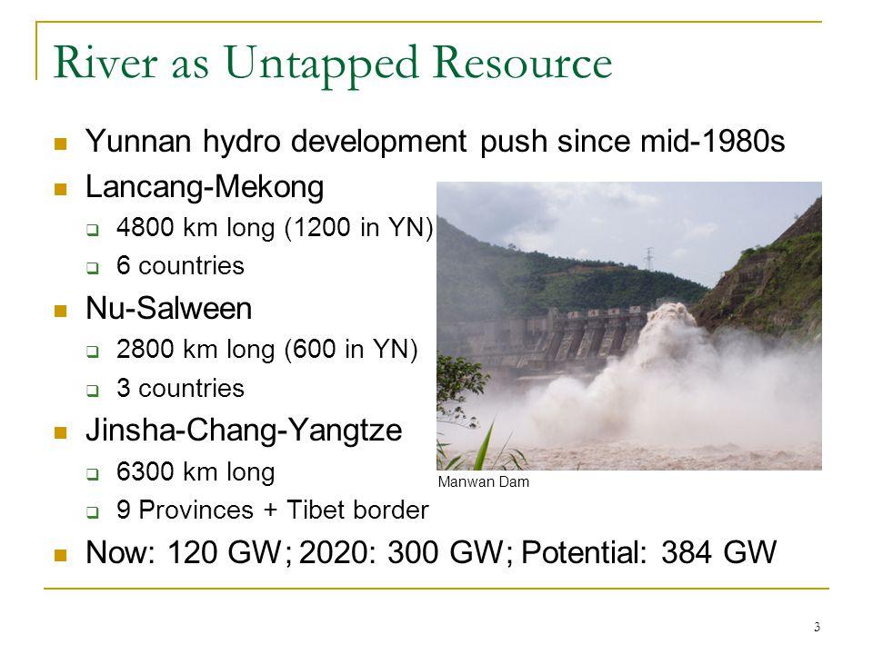 3 River as Untapped Resource Yunnan hydro development push since mid-1980s Lancang-Mekong  4800 km long (1200 in YN)  6 countries Nu-Salween  2800 km long (600 in YN)  3 countries Jinsha-Chang-Yangtze  6300 km long  9 Provinces + Tibet border Now: 120 GW; 2020: 300 GW; Potential: 384 GW Manwan Dam