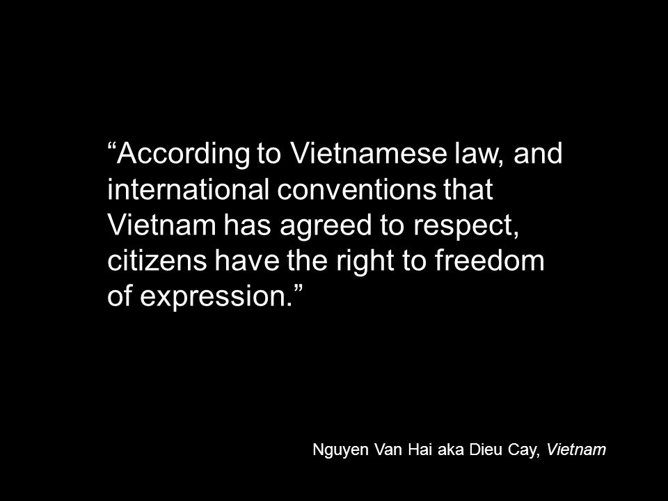 According to Vietnamese law, and international conventions that Vietnam has agreed to respect, citizens have the right to freedom of expression. Nguyen Van Hai aka Dieu Cay, Vietnam