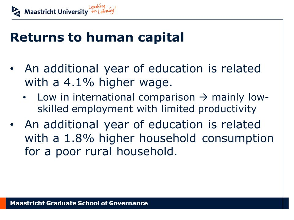 Maastricht Graduate School of Governance Returns to human capital An additional year of education is related with a 4.1% higher wage.