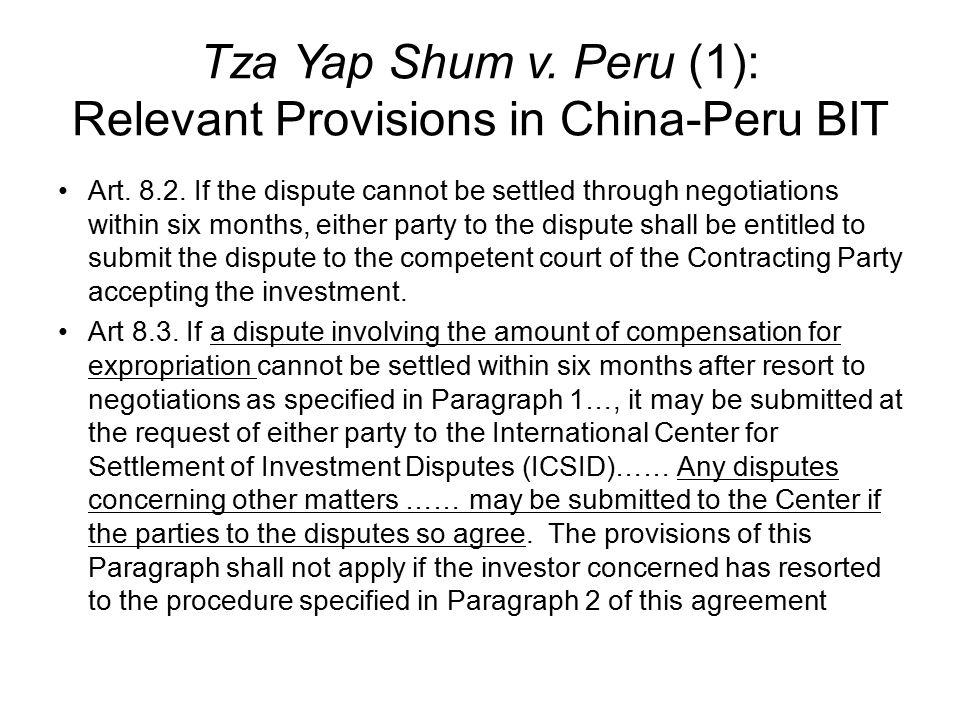 Tza Yap Shum v.Peru (1): Relevant Provisions in China-Peru BIT Art.