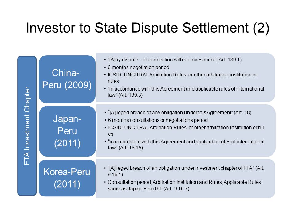 Investor to State Dispute Settlement (2) [A]ny dispute…in connection with an investment (Art.