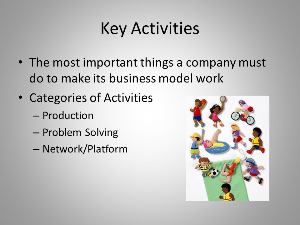 Key Activities The most important things a company must do to make its business model work Categories of Activities – Production – Problem Solving – Network/Platform