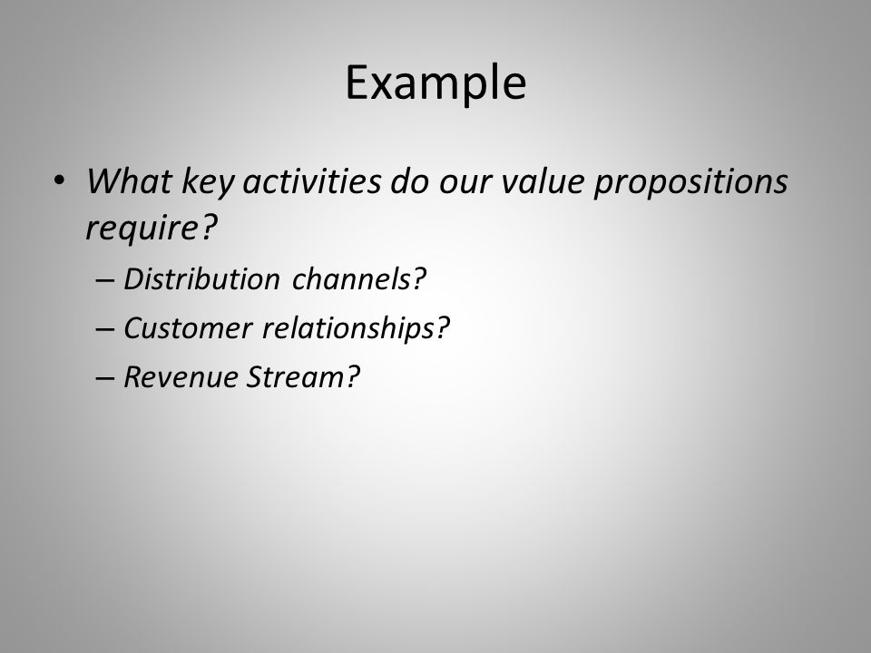 Example What key activities do our value propositions require.