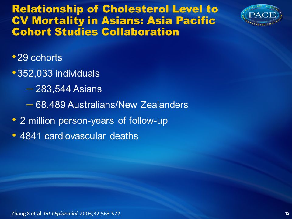 Relationship of Cholesterol Level to CV Mortality in Asians: Asia Pacific Cohort Studies Collaboration 29 cohorts 352,033 individuals – 283,544 Asians – 68,489 Australians/New Zealanders 2 million person-years of follow-up 4841 cardiovascular deaths 12 Zhang X et al.