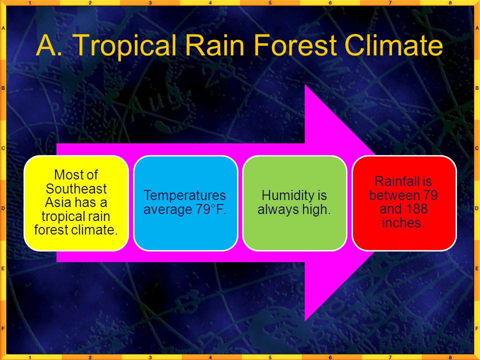 A. Tropical Rain Forest Climate Most of Southeast Asia has a tropical rain forest climate. Temperatures average 79°F. Humidity is always high. Rainfal