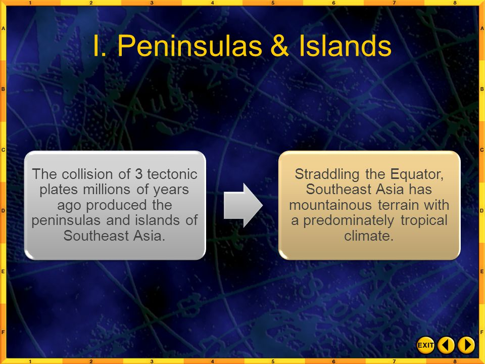 I. Peninsulas & Islands The collision of 3 tectonic plates millions of years ago produced the peninsulas and islands of Southeast Asia. Straddling the